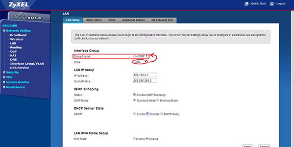 تنظیمات DMZ در مودم Zyxel