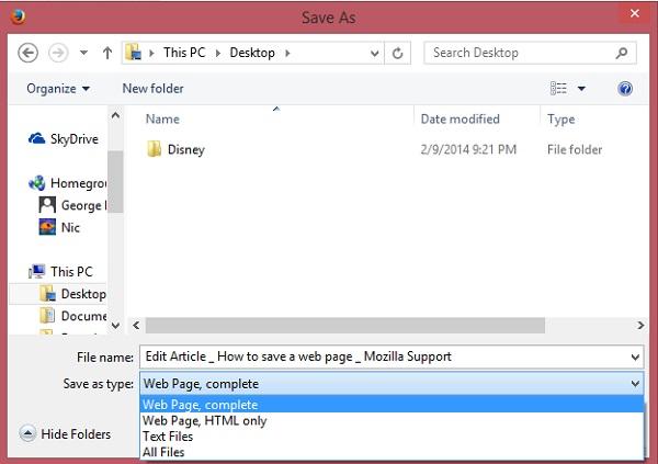 ذخیره صفحات وب در کروم