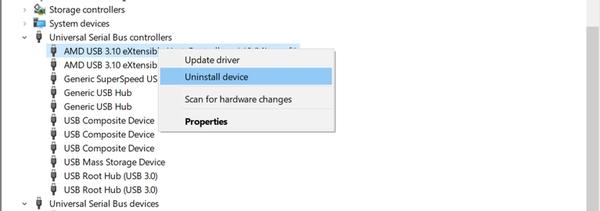 بررسی در Device Manager برای حل مشکل پورت USB لپ تاپ