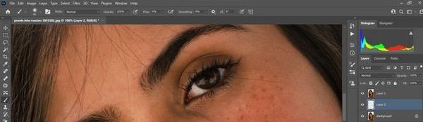 ادیت چشم واقعی در فتوشاپ، پاک کردن تیرگی و ساهی زیر و اطراف چشم