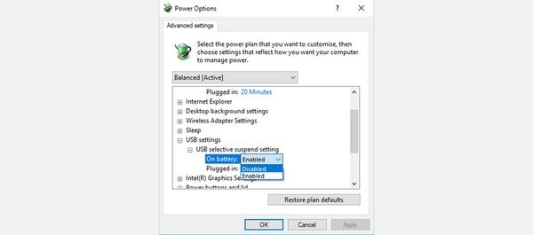 رفع مشکل کار نکردن فلش در لپ تاپ با تنظیمات Power