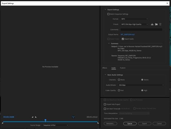 تبدیل فرمت فیلم MP4 به MP3 با برنامه Adobe Premiere Pro