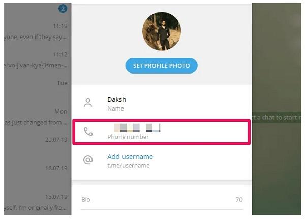 شماره تلگرام را بدون توجه به مخاطبین تغییر دهید