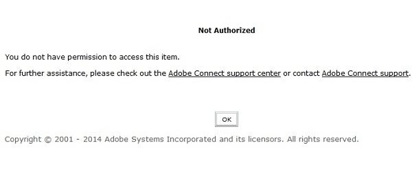 نحوهبرطرف کردن ارور Not authorized در Adobe connect