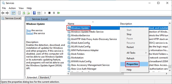 ریستارت کردن سرویس Windows Update