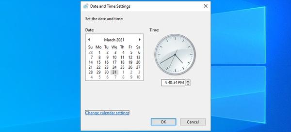 تاریخ و زمان را برای اصلاح خطای 0x80070057 تنظیم کنید