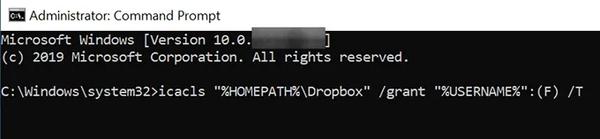 برای حل مشکل در Dropbox ، مجوزها را بررسی کنید