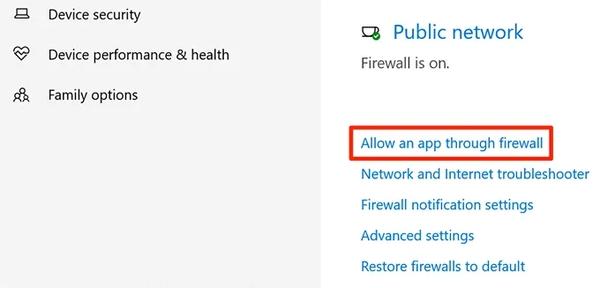 dropbox را در فایروال مجاز بگذارید