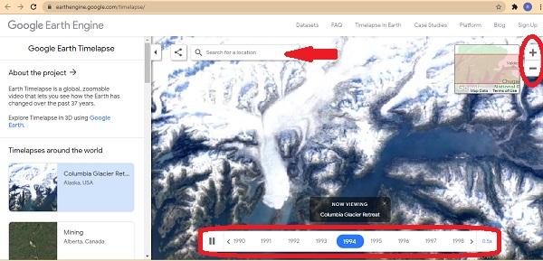 تغییرات زمین در گوگل ارث
