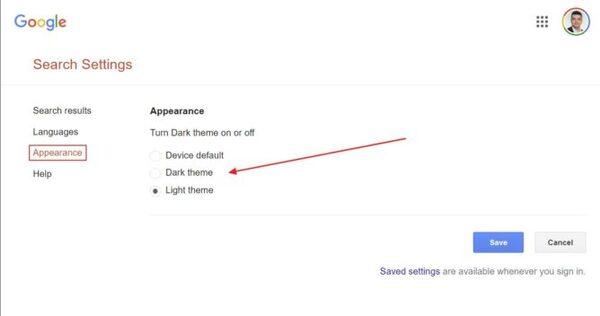 تم تاریک یا مشکی جستجوی گوگل