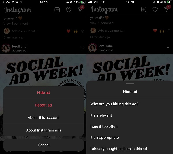 آموزش 4 روش حذف تبلیغات اینستاگرام
