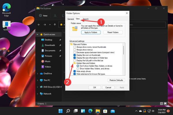 نمایش فایل مخفی در ویندوز 11