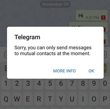 ارور mutual contact تلگرام