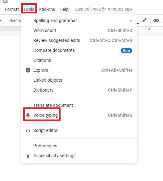 آموزش تایپ صوتی گوگل داکس