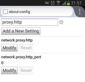 حذف تنظیمات پروکسی در Android Firefox