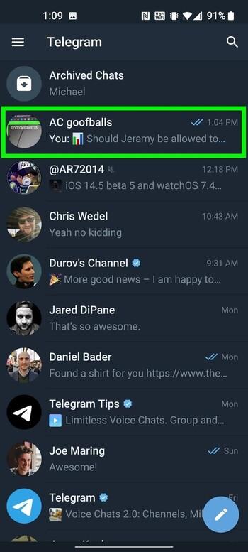 رای دادن در تلگرام