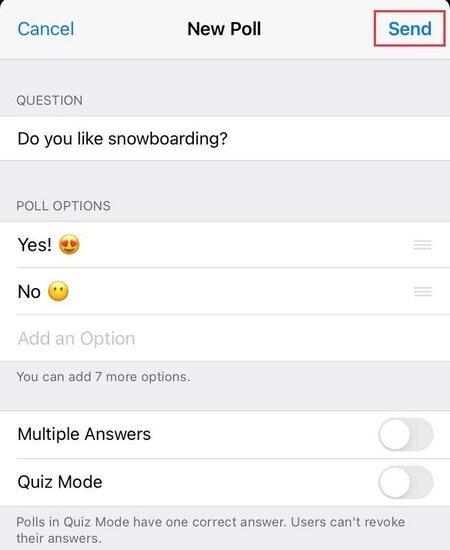 پرسشنامه در تلگرام