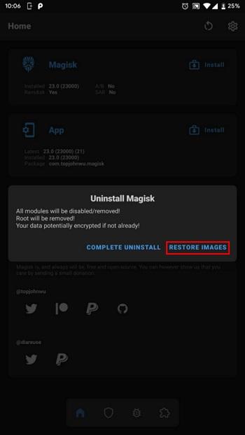 عیب یابی تلفن های روت شده با پاکسازی Magisk یکی از محبوب ترین برنامه های روتینگ تلفن Magisk است.  وقتی می خواهید مشکل تلفن روت شده را برطرف کرده و آن را روت کنید ، باید تمام اطلاعات مربوط به این برنامه را حذف کنید.  برای این کار می توانید از قابلیت حذف گوشی خود استفاده کنید.  برای حذف کامل این برنامه روی COMPLETE UNINSTALL کلیک کنید.  پس از حذف ، تلفن به طور خودکار راه اندازی مجدد می شود.  اگر نمی توانید تلفن خود را راه اندازی کنید ، اما به TWRP دسترسی دارید ، می توانید آن را از این طریق حذف نصب کنید.  برای انجام این کار ، نام Magisk APK را به uninstall.zip تغییر دهید.  سپس گوشی خود را در حالت بازیابی راه اندازی کنید.  حالا حذفش کن  این برنامه همیشه از تصویر بارگذاری Stock پشتیبان گیری می کند.  با استفاده از این برنامه می توانید آرشیو را بازیابی کنید.  در این حالت ، برای اعمال تغییرات باید تلفن را مجدداً راه اندازی کنید.