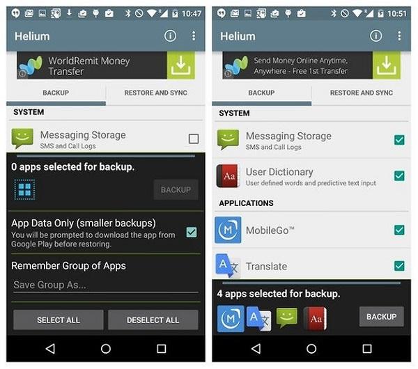 پشتیبان گیری از داده های برنامه های Android