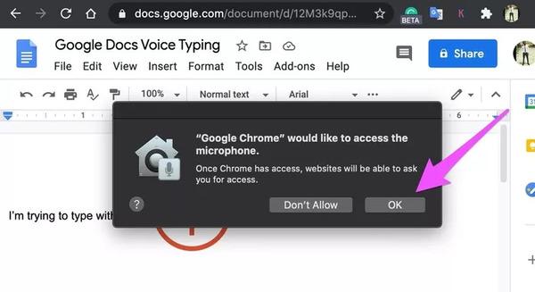 صدای Google را در Google Docs وارد کنید