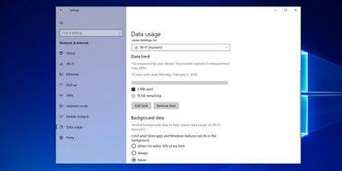 آموزش کاهش و تنظیم مصرف اینترنت در ویندوز 10 یا ابزار Data Limit
