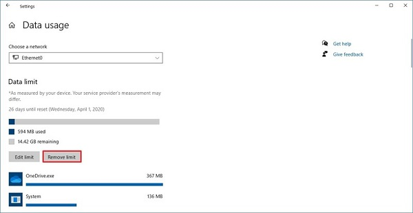کنترل مصرف اینترنت در ویندوز 10