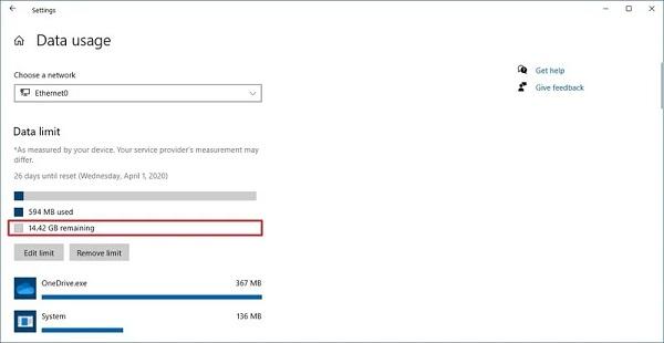 مشاهده مصرف اینترنت در ویندوز 10