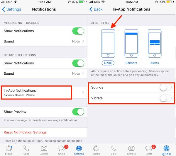 چگونه می توان اعلانات WhatsApp را در iPhone غیرفعال کرد؟