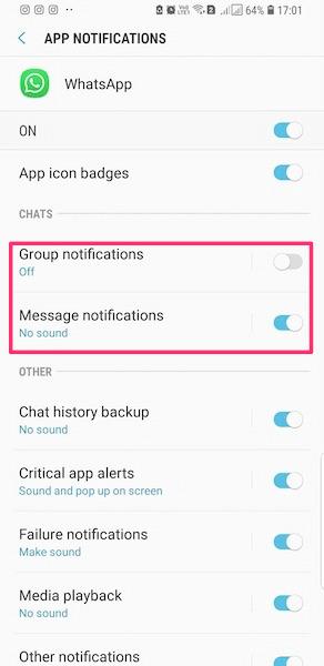 اعلان ها را در WhatsApp نشان ندهید
