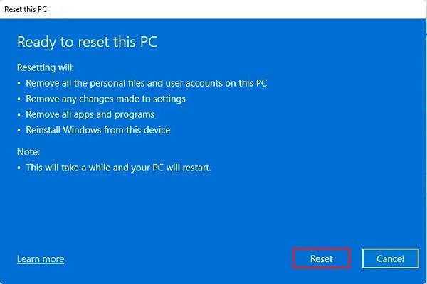 برگرداندن ویندوز 11 به تنظیمات کارخانه